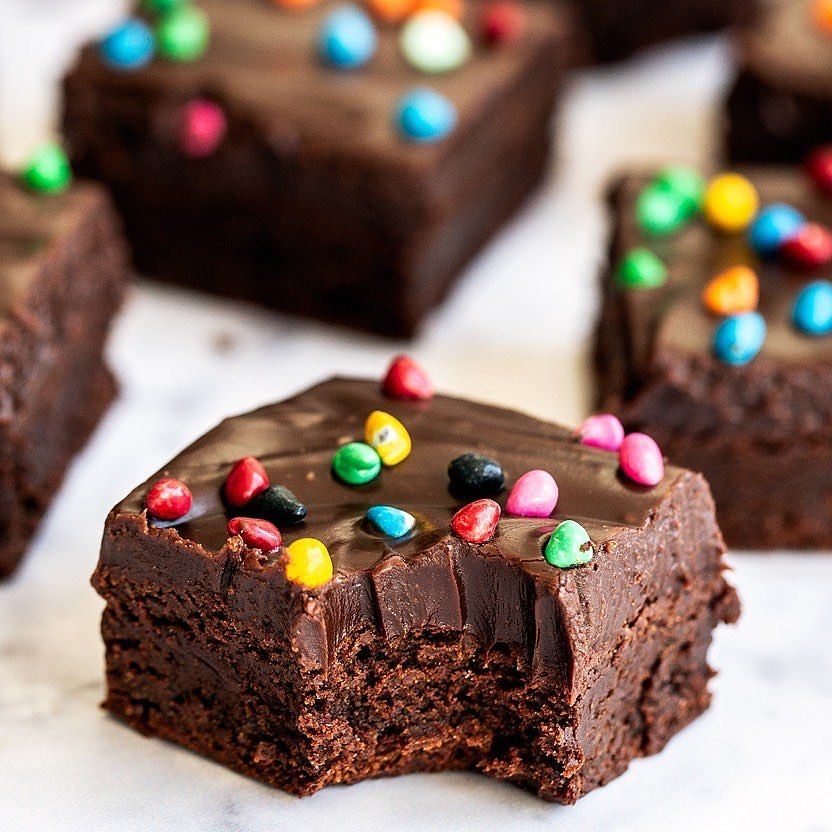 Fudgy Brownies with Frosting and Rainbow Sprinkles