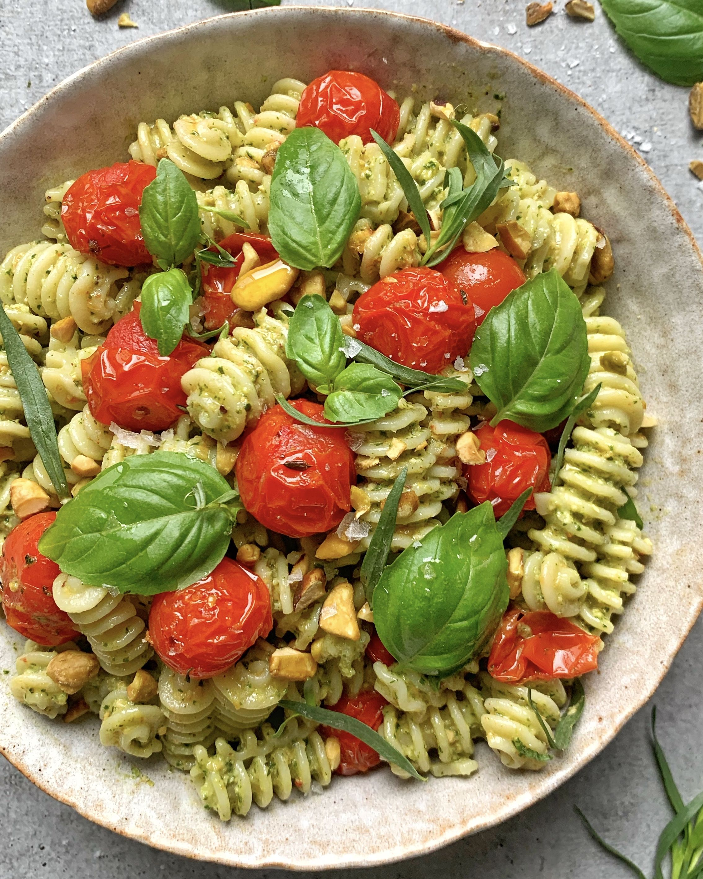 Roasted Tomato and Pistachio Pesto Pasta Salad