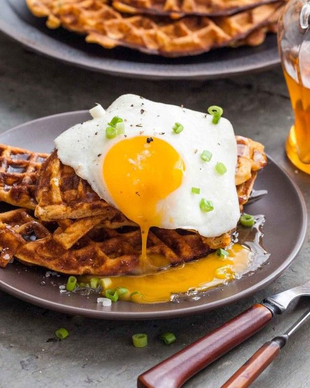 Sweet Potato Waffles with Fried Eggs and Bacon