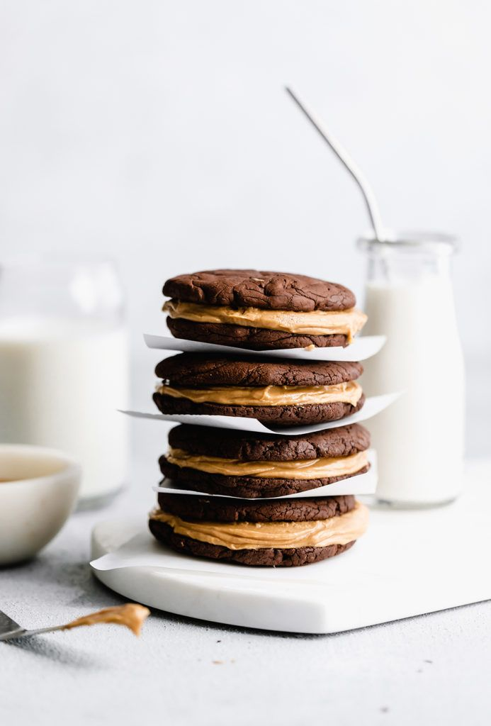 Brownie Sandwich Cookies with Peanut Butter Filling
