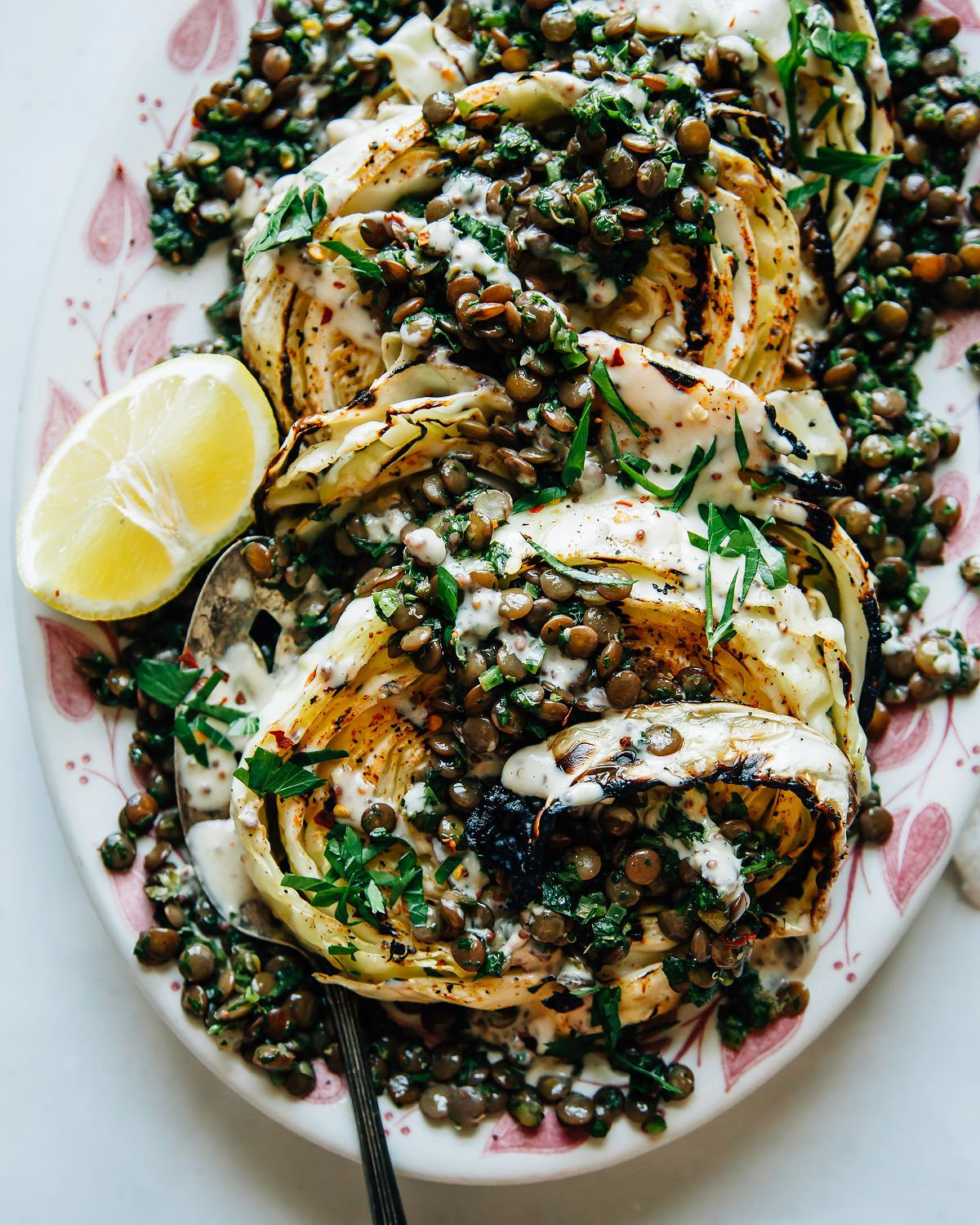Grilled Cabbage Steaks with Jalapeño Chimichurri