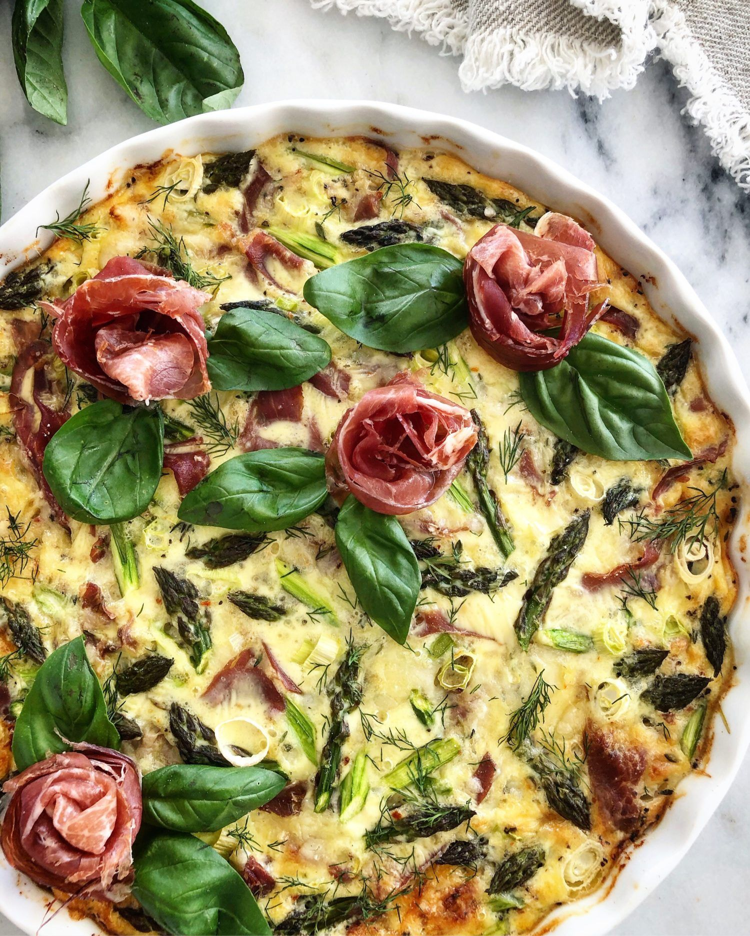 Crustless Prosciutto and Asparagus Quiche