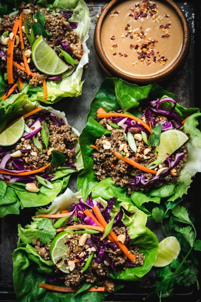 Quinoa, Lentil, and Vegetable Lettuce Wraps with Peanut Sauce