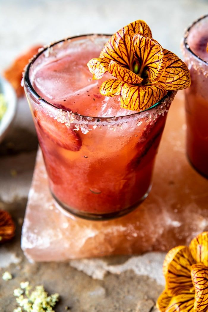 Strawberry Hibiscus Margarita with Ginger Beer