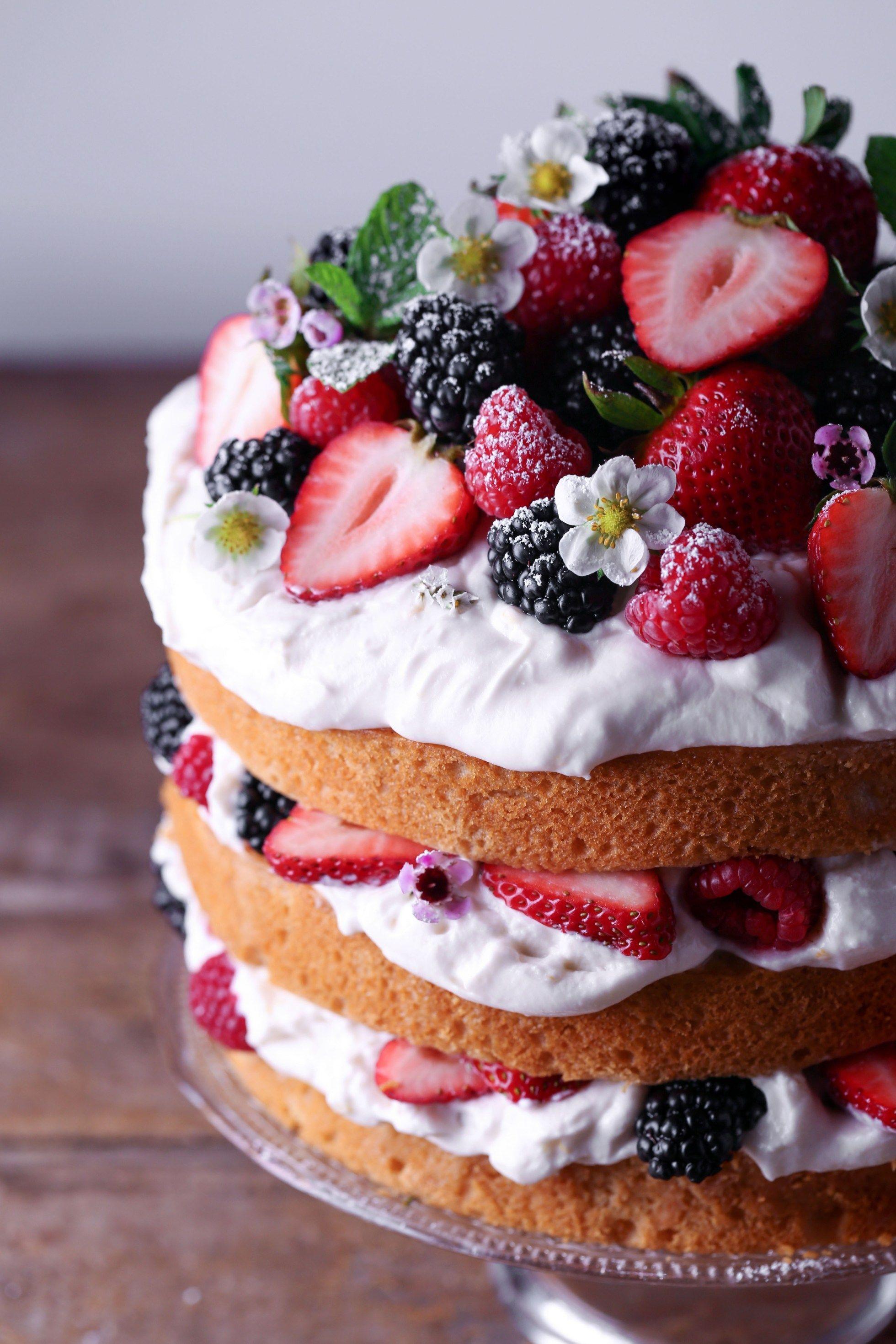 Lemon Cake with Lemon Whipped Cream and Berries