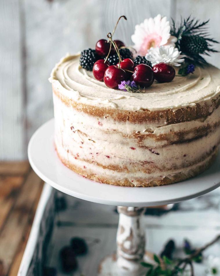 Vanilla and Cherry Layer Cake