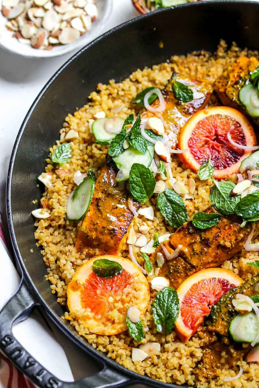 Bulgur with Turmeric Glazed Salmon