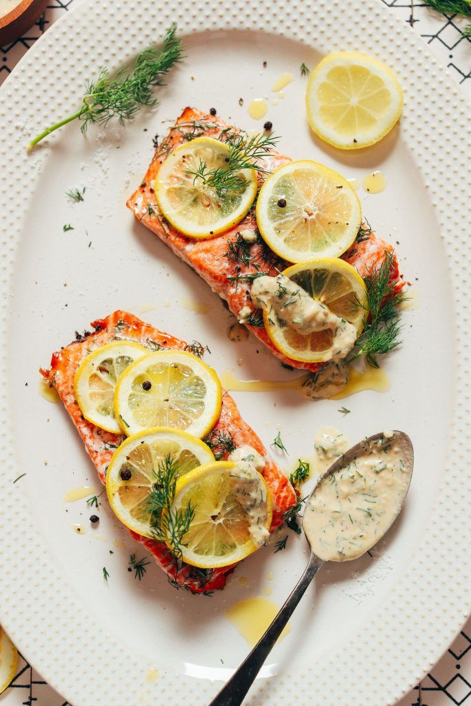 Lemon Salmon with Garlic Dill Sauce