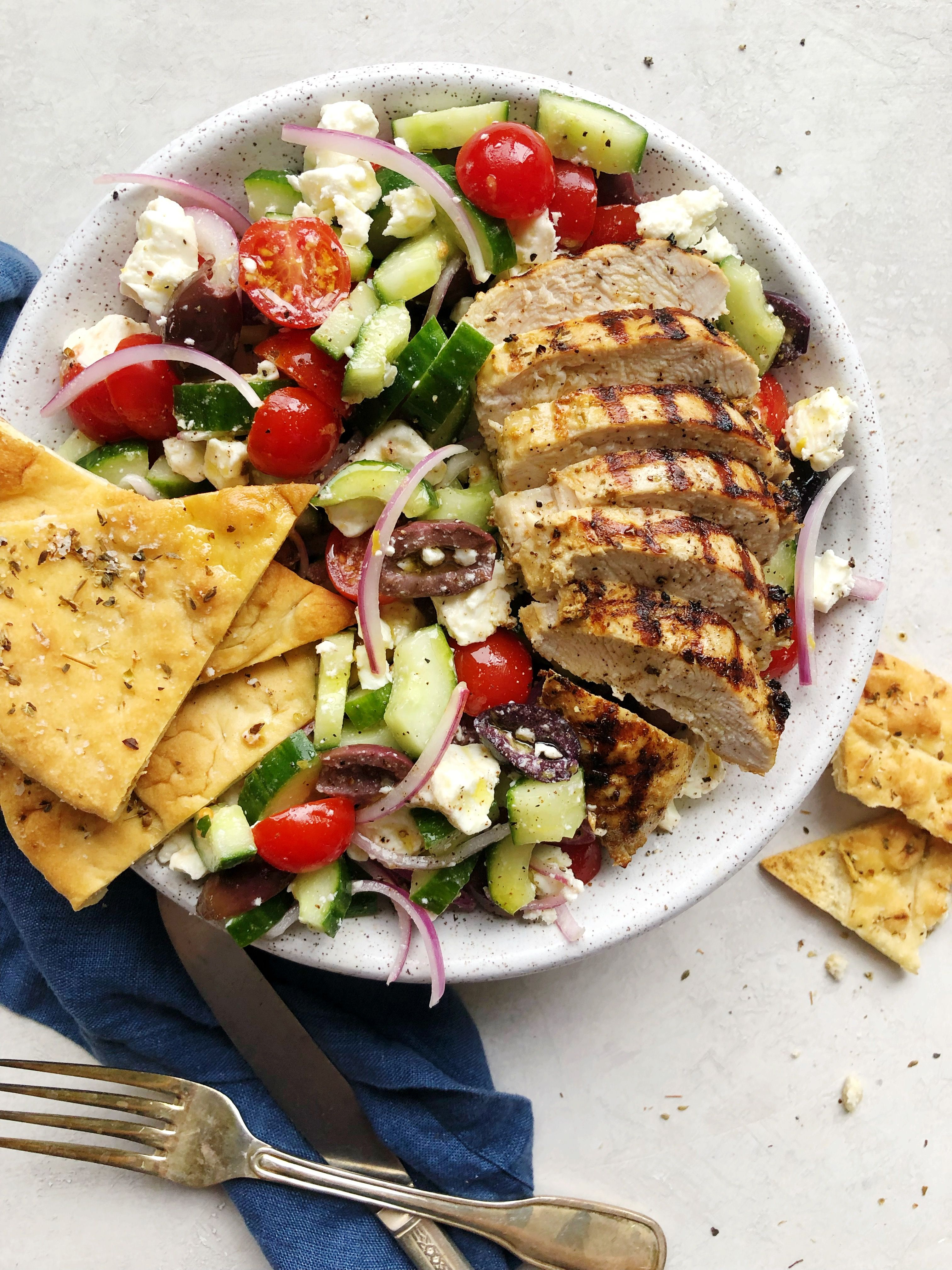 Greek Salad with Grilled Chicken and Baked Pita Wedges