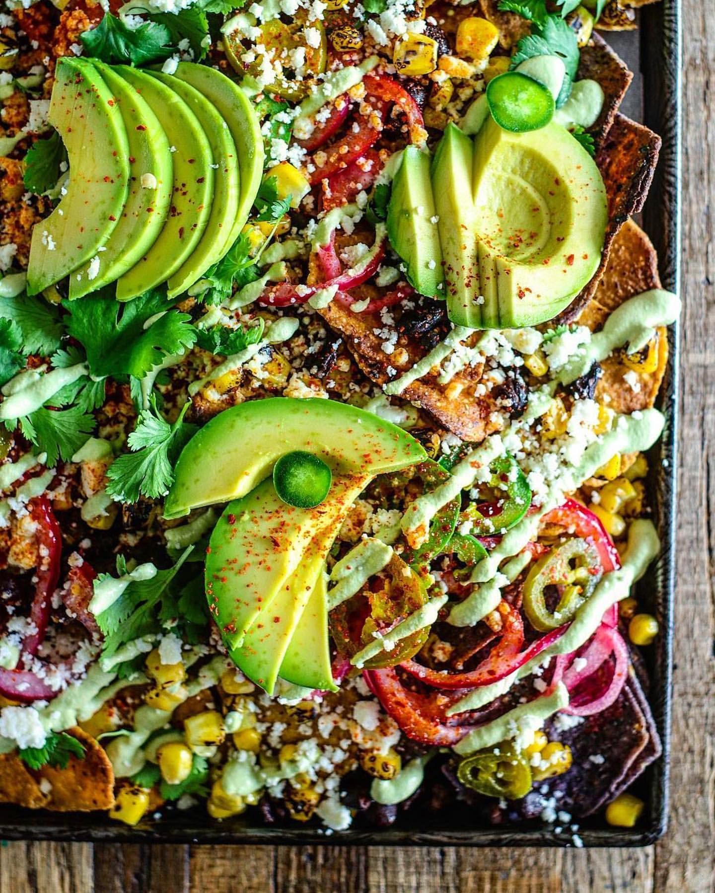 Nachos with Avocado and Grilled Corn