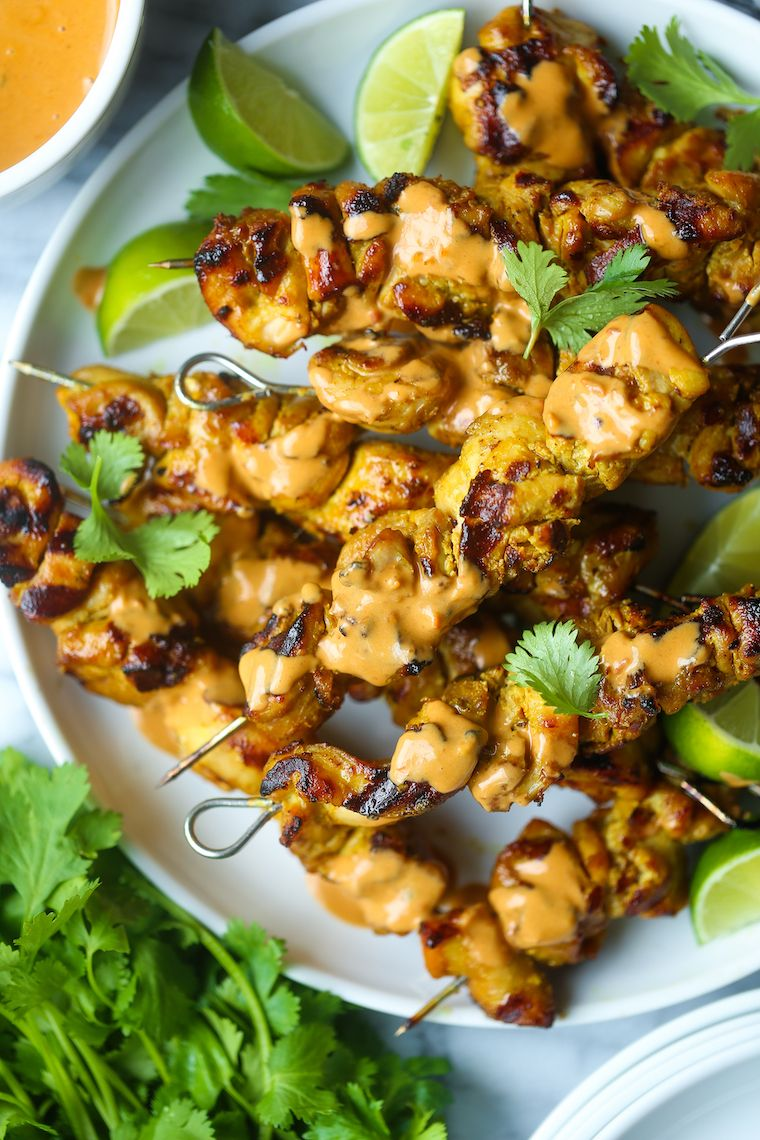 Chicken Satay Skewers with Peanut Lime Sauce