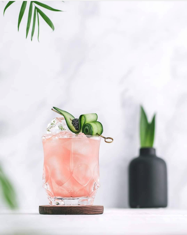 Cucumber Blackberry and Gin Cocktail