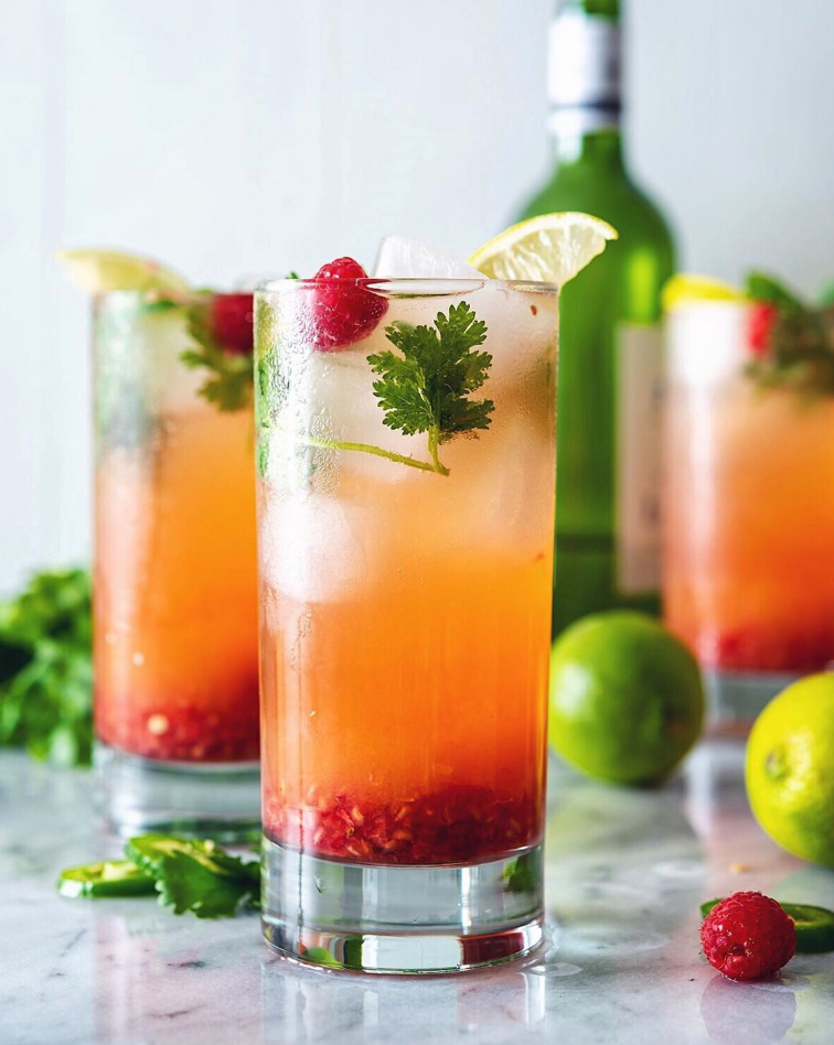 Wine Spritzers with Pineapple and Raspberries