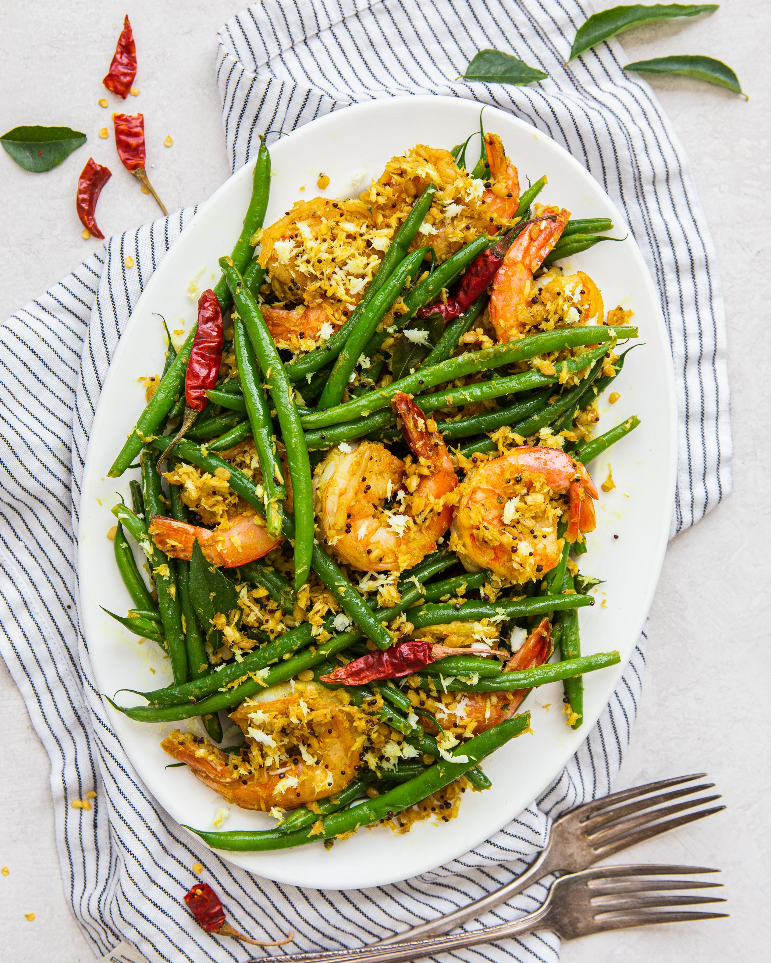 Sauteed Green Beans with Shredded Coconut, Tamarind and Shrimp