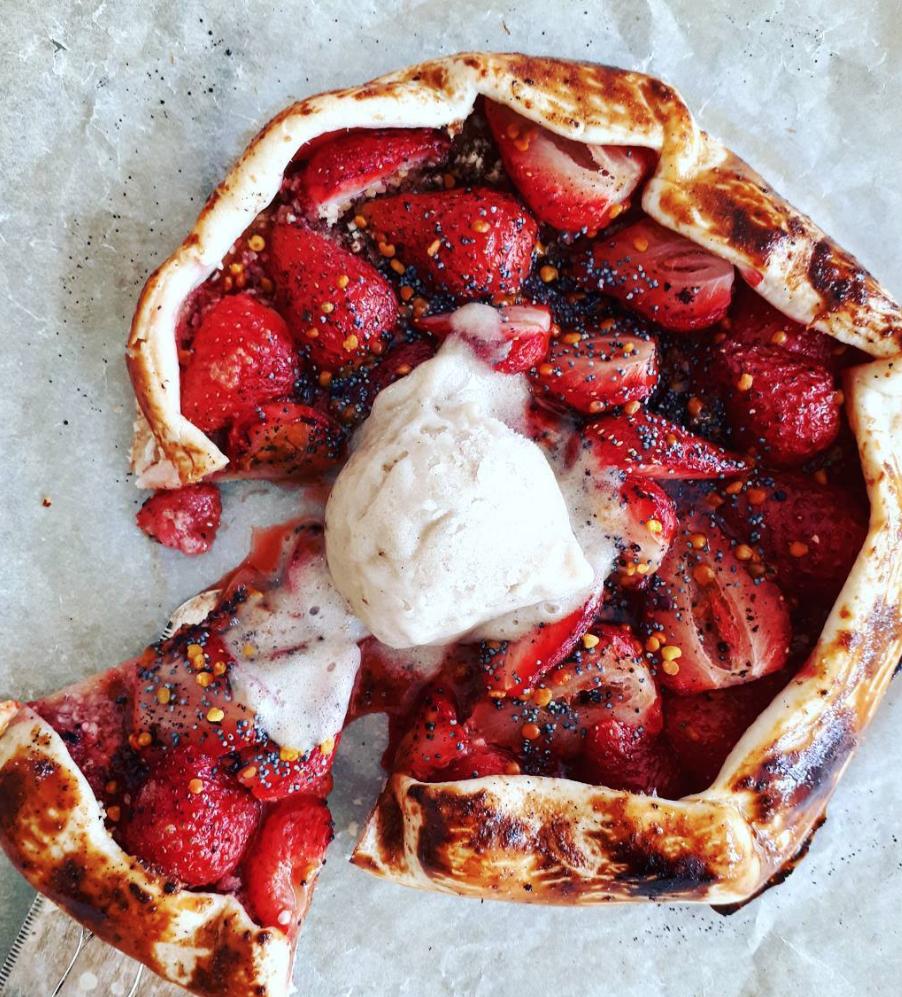 Strawberry Almond Vanilla Galette With Banana Nice Cream