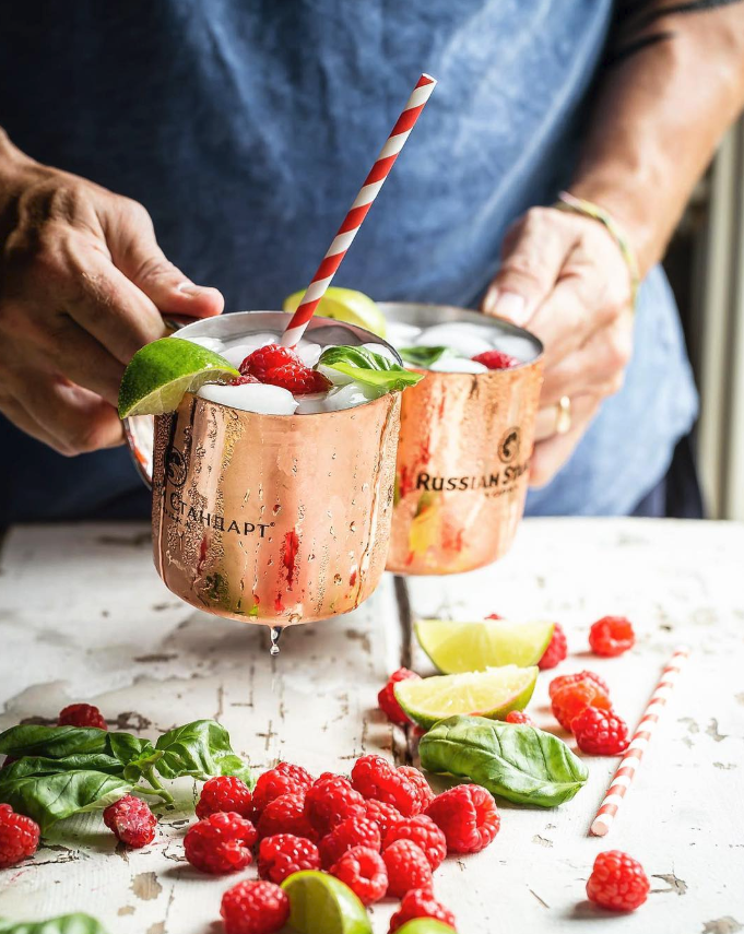 Raspberry and Basil Infused Moscow Mule