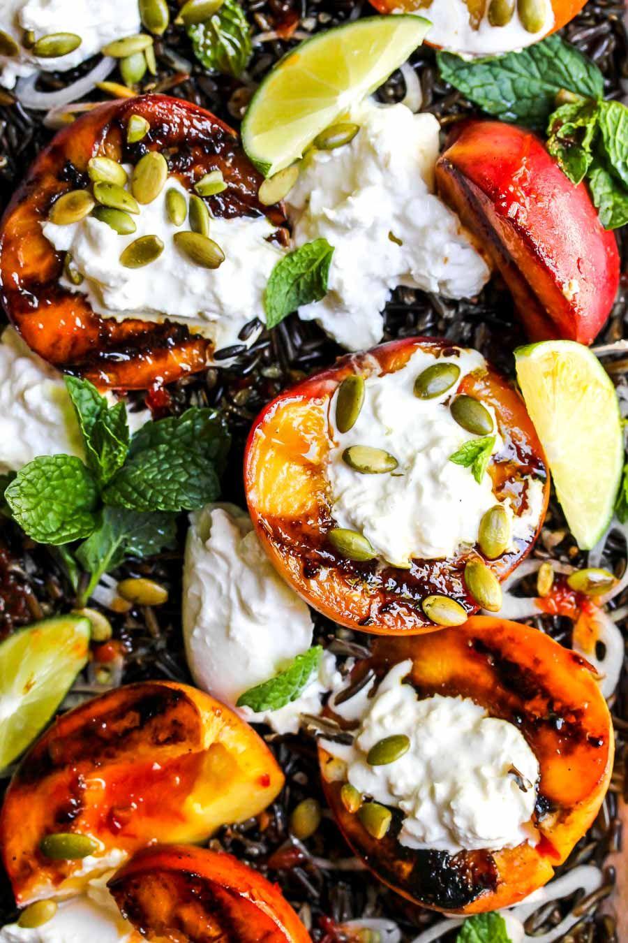 Harissa Honey Grilled Peach and Burrata Salad