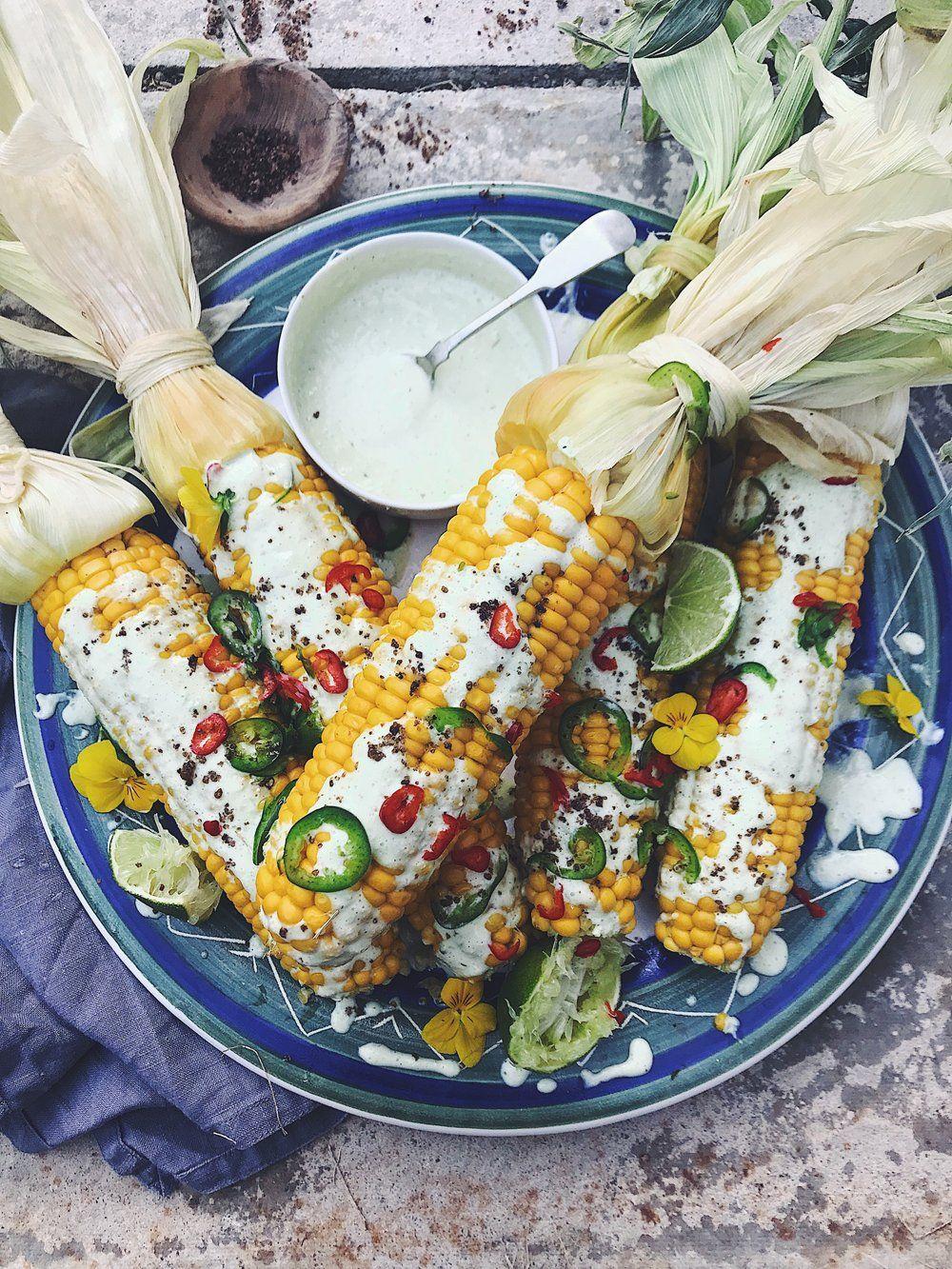 Corn on the Cob with Tahini Jalapeno Sauce
