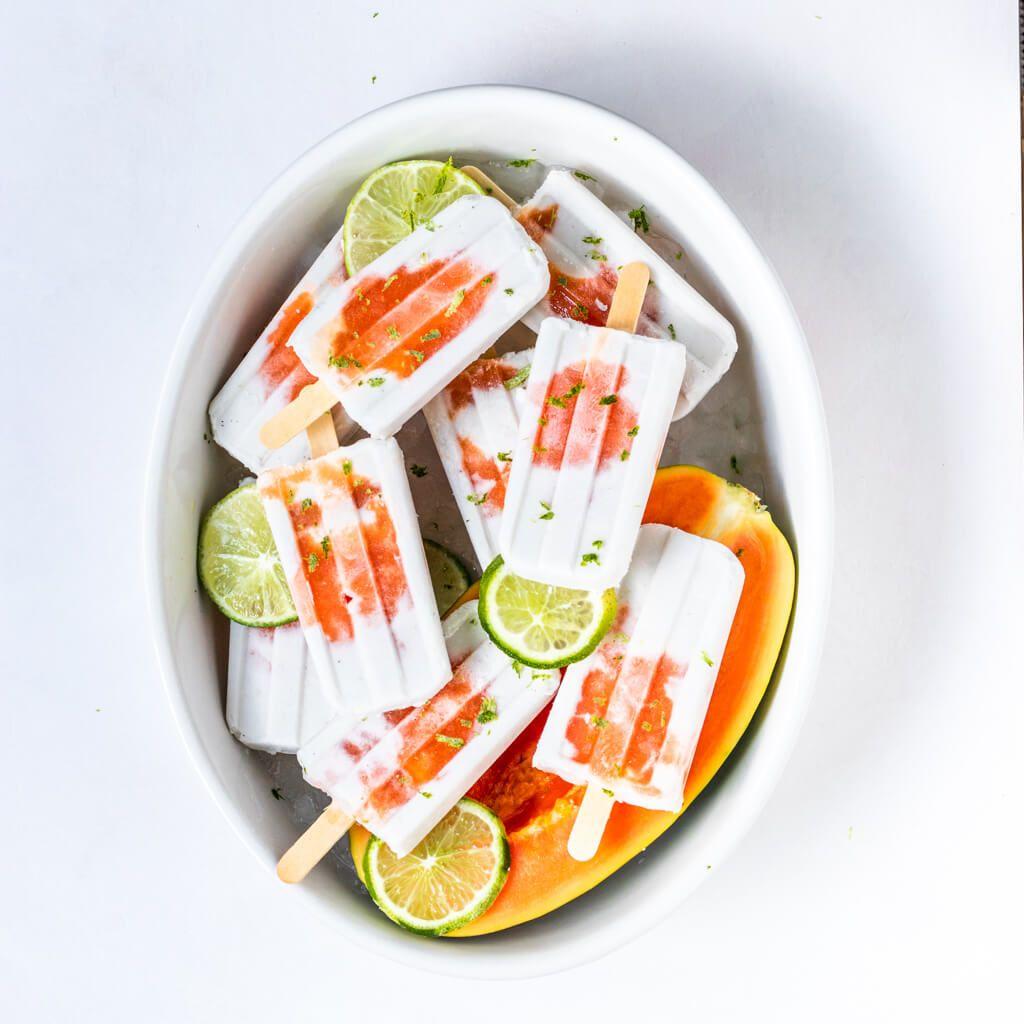 Lime Papaya Popsicles