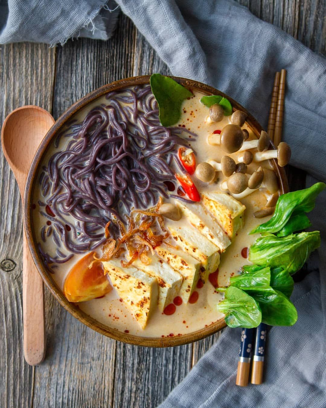 Tofu and Black Rice Noodle Soup