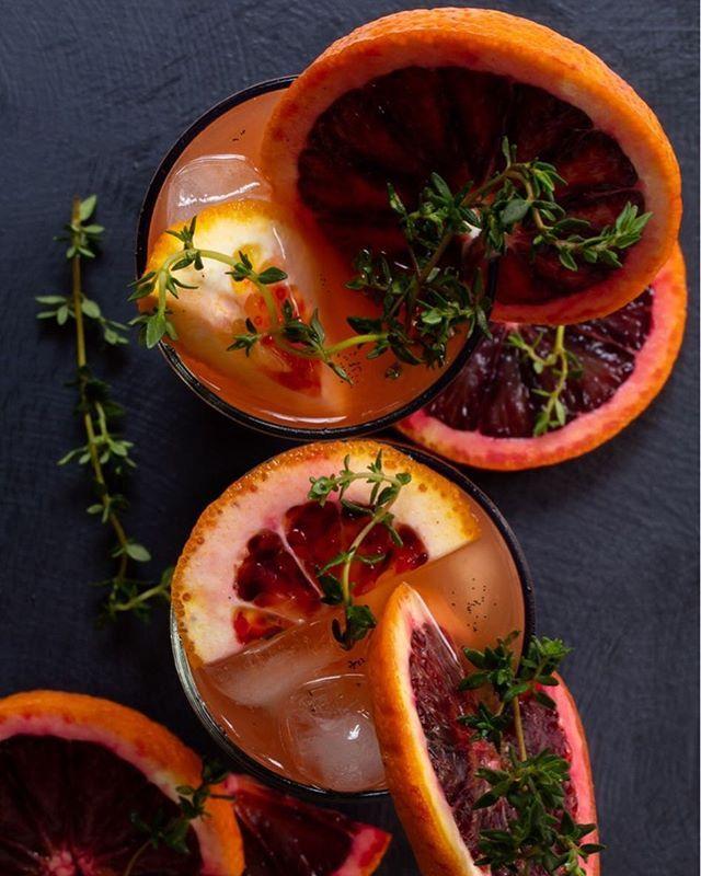 Thyme and Blood Orange Shrub
