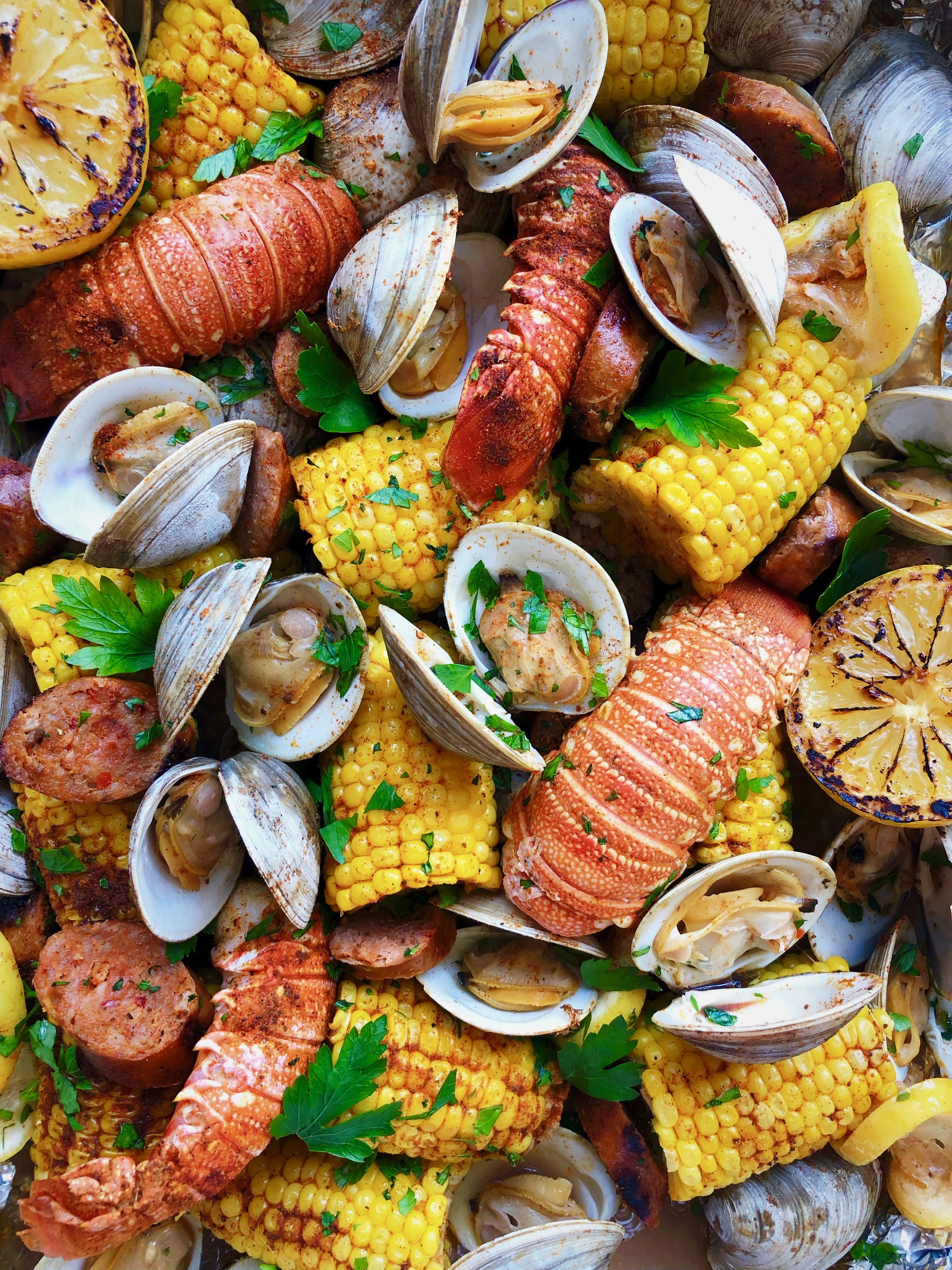 Seafood and Old Bay Foil Packs