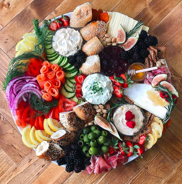 Bagel, Cheese and Charcuterie Board