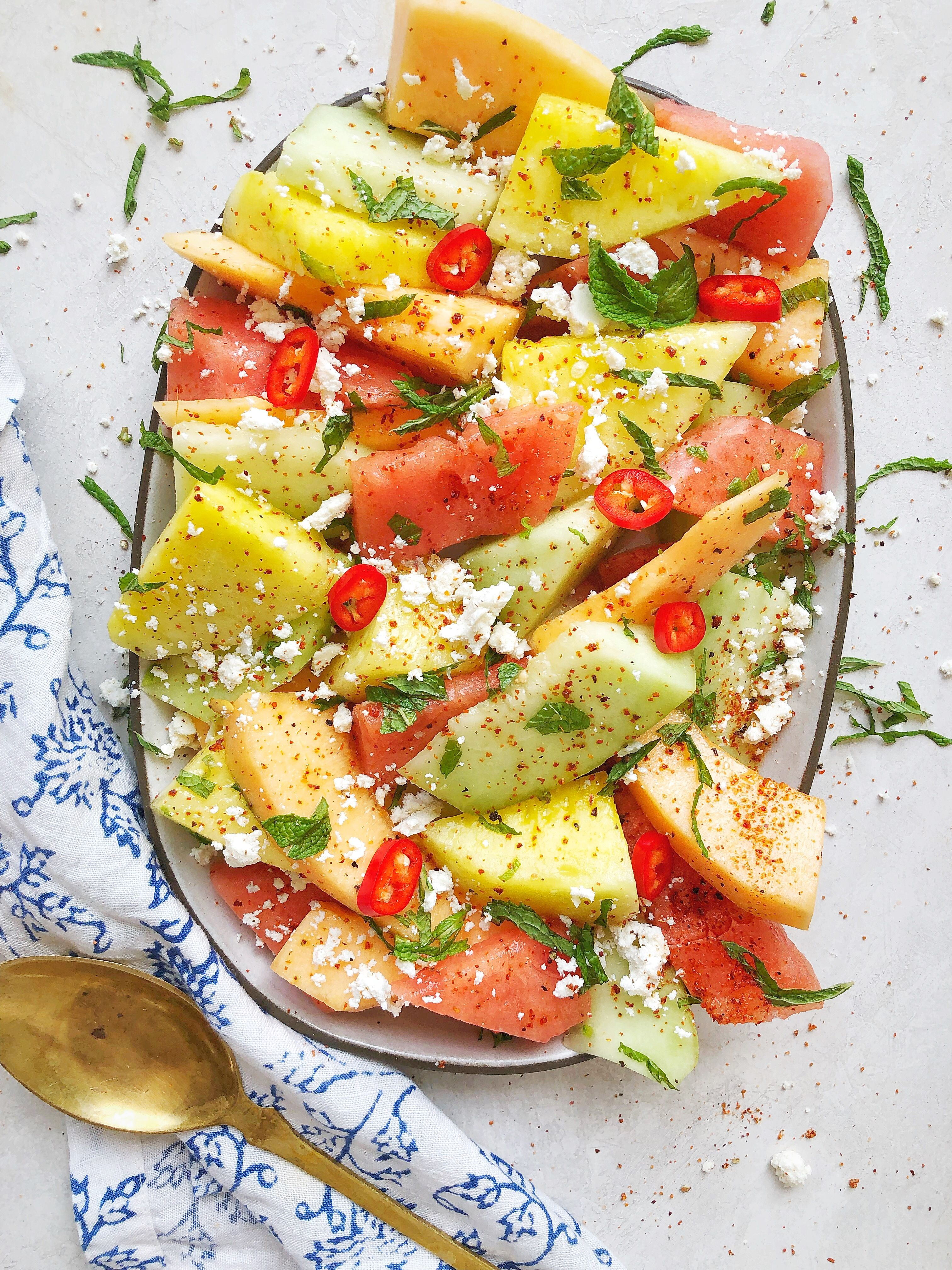 Mixed Melon Salad with Ricotta Salata, Chili Pepper, Lime and Mint