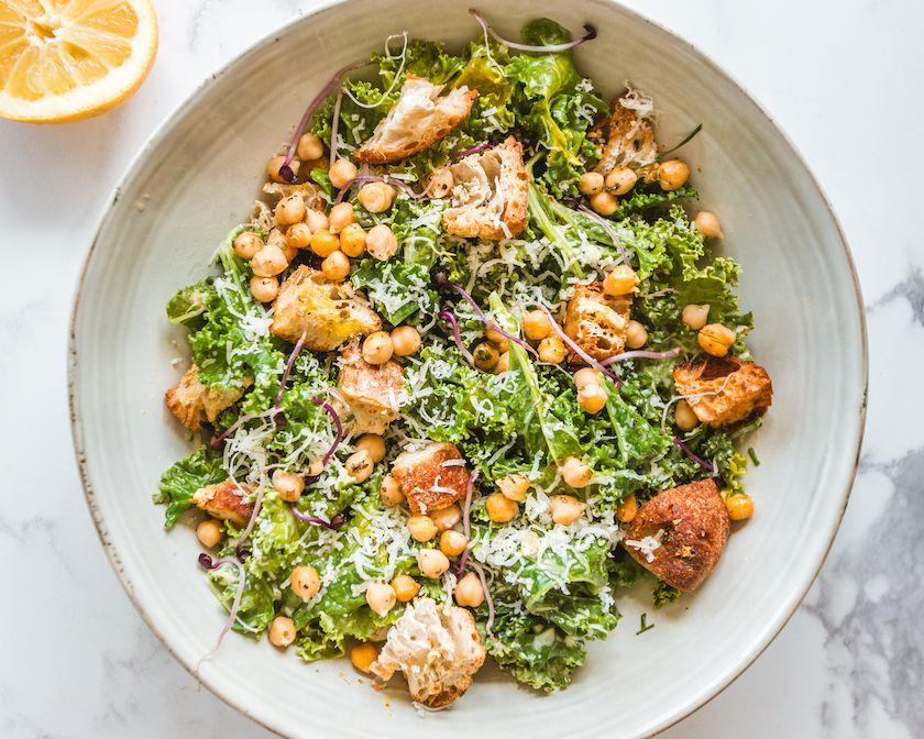Kale Caesar Salad with Creamy Dressing