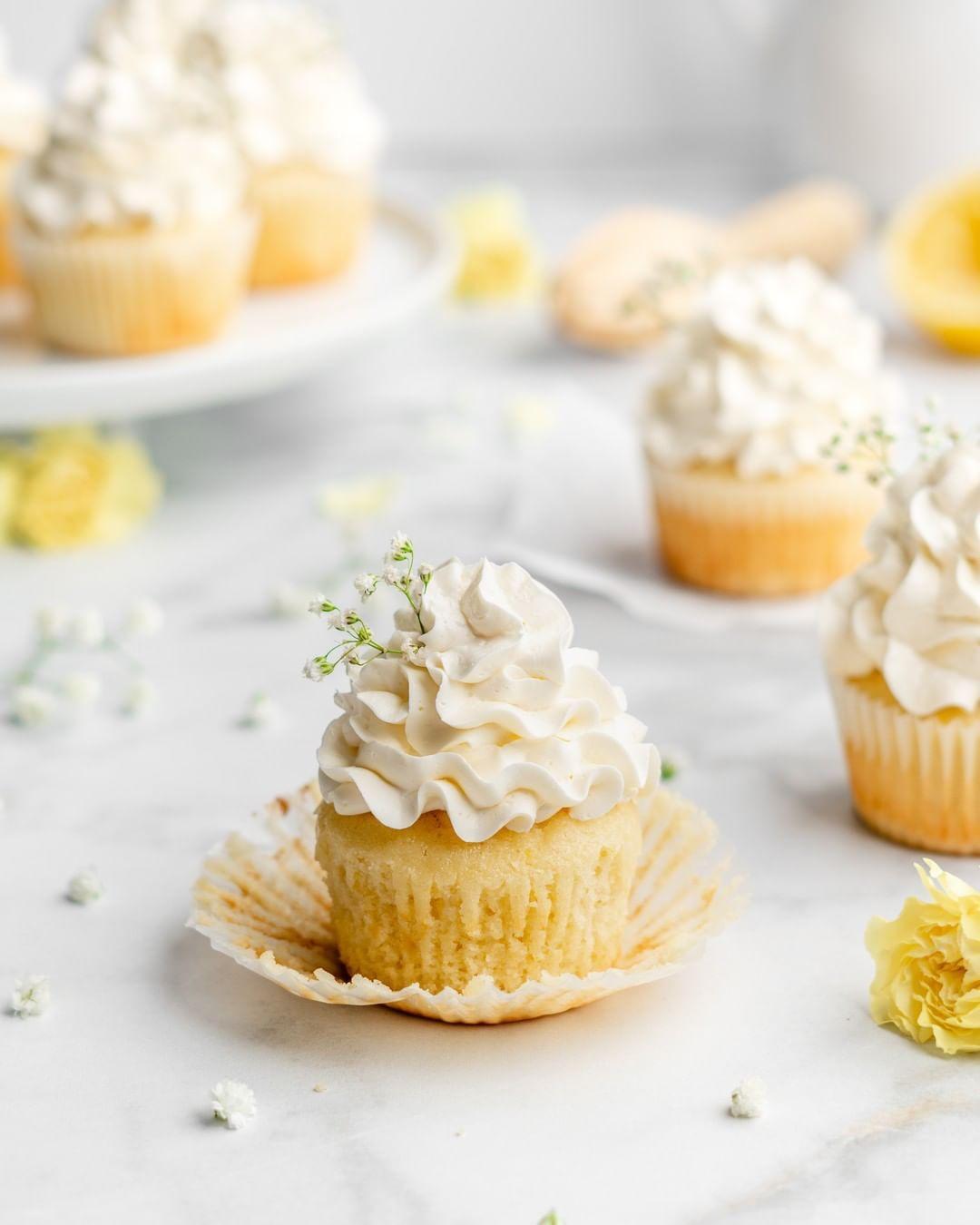 Lemon Cupcakes with Elderflower Buttercream