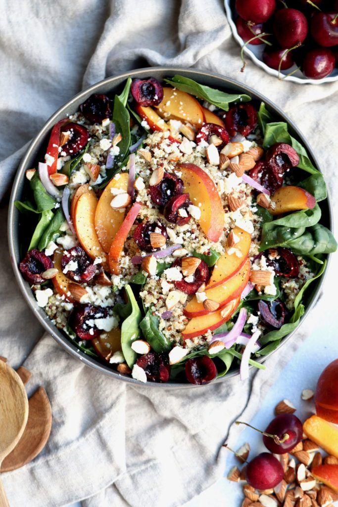 Nectarine, Cherry and Almond Spinach Quinoa Salad