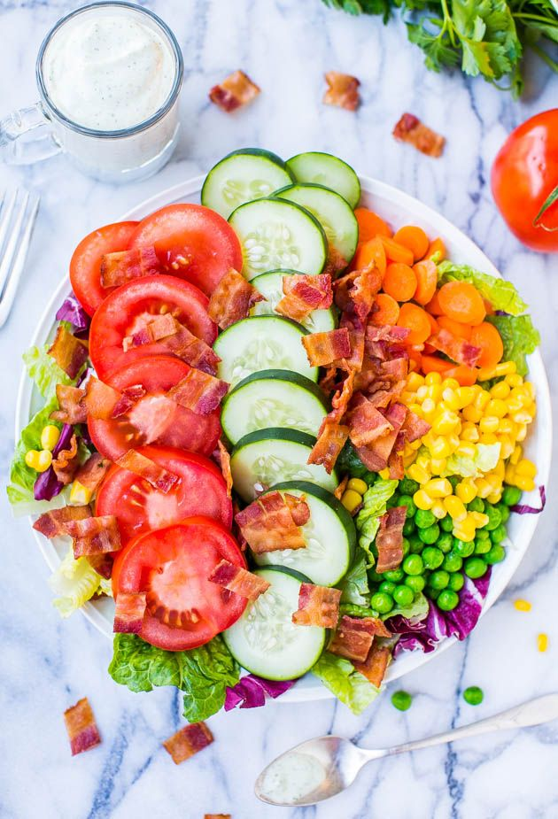 BLT Chopped Salad with Corn and Peas