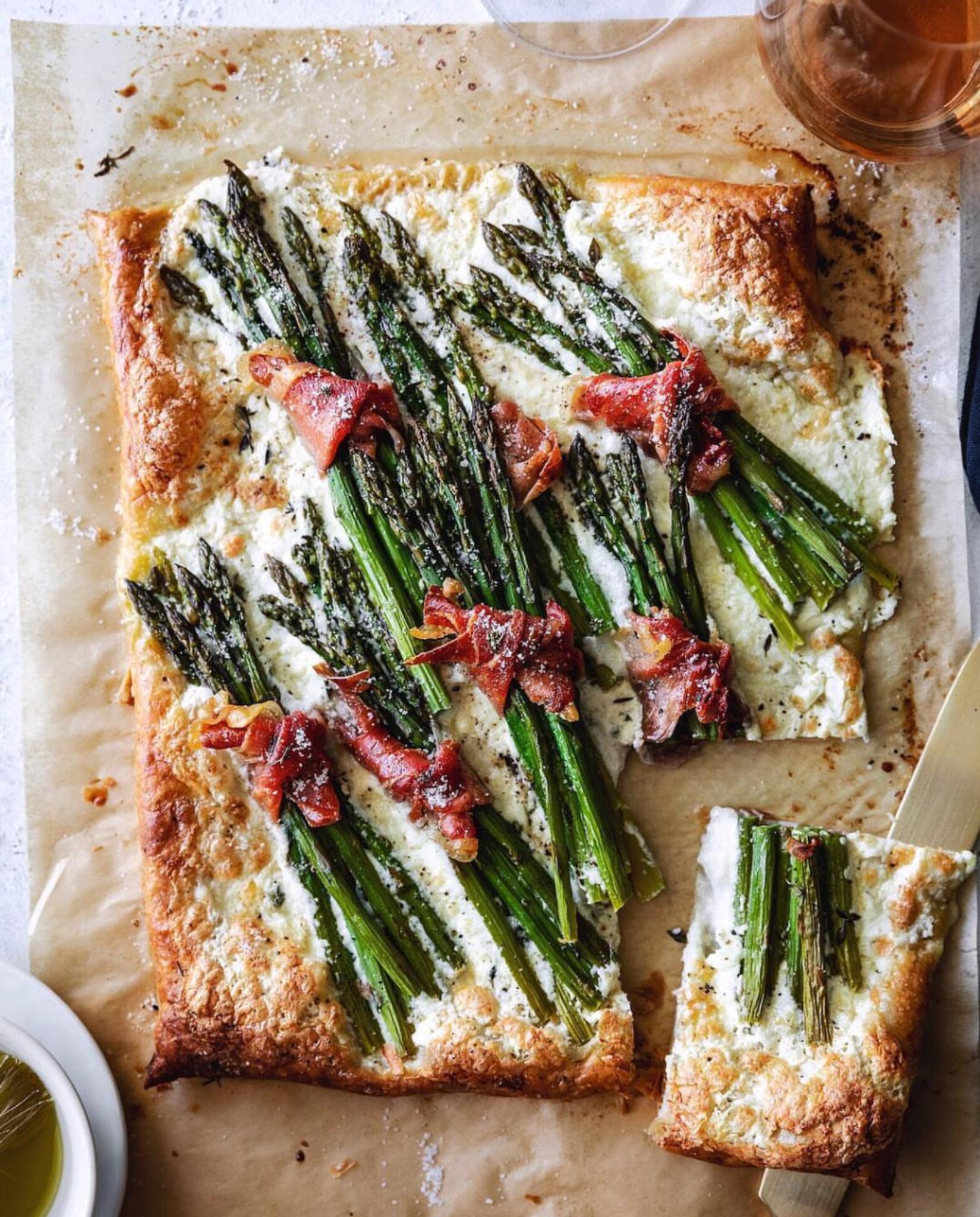 Burrata, Asparagus, Prosciutto Tart