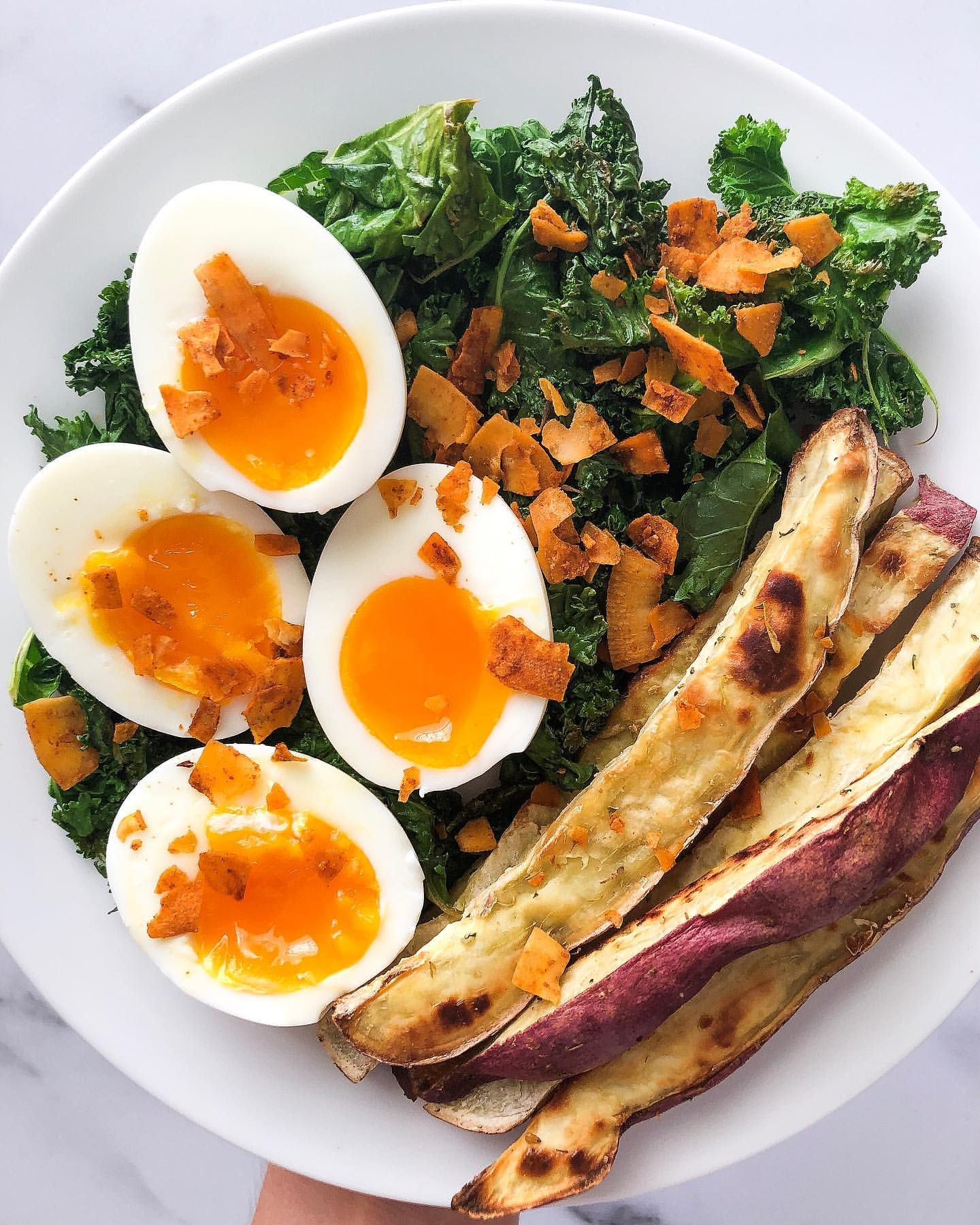 Egg, Potato and Greens Plate