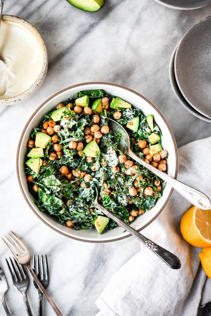 Vegan Kale Tahini Caesar Salad