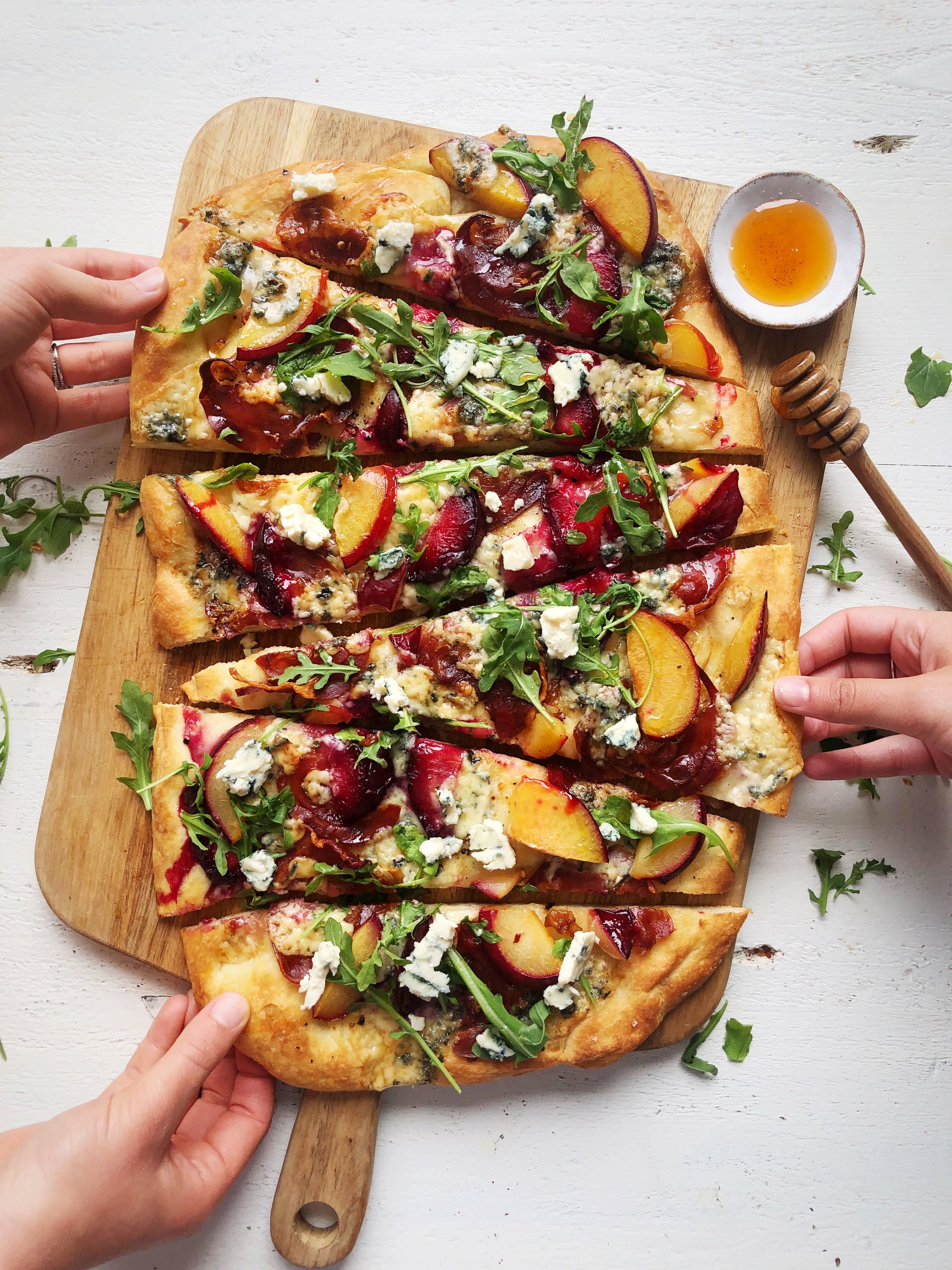 Plum, Blue Cheese and Pancetta Flatbread with Hot Honey