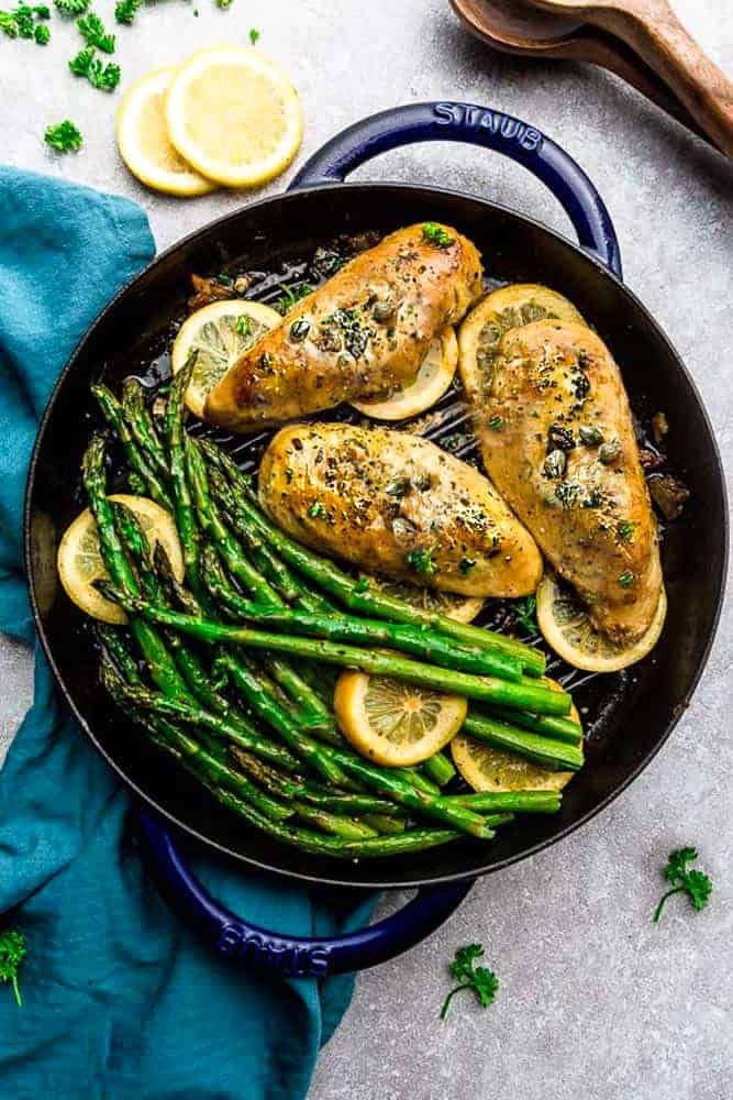 Roasted Asparagus with Chicken Piccata