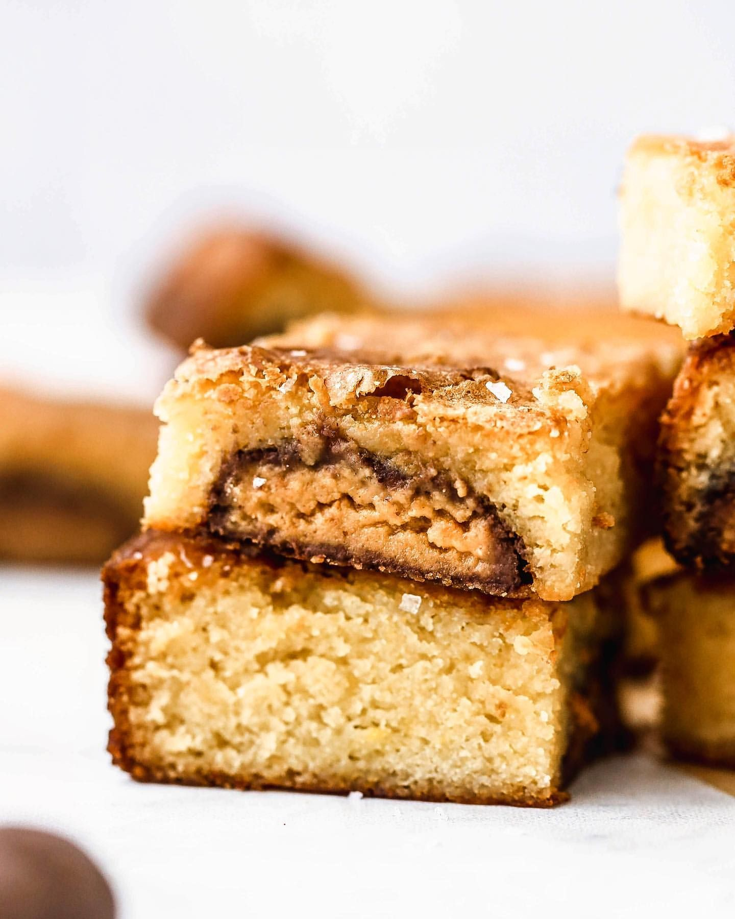 Chocolate and Peanut Butter Stuffed Blondies