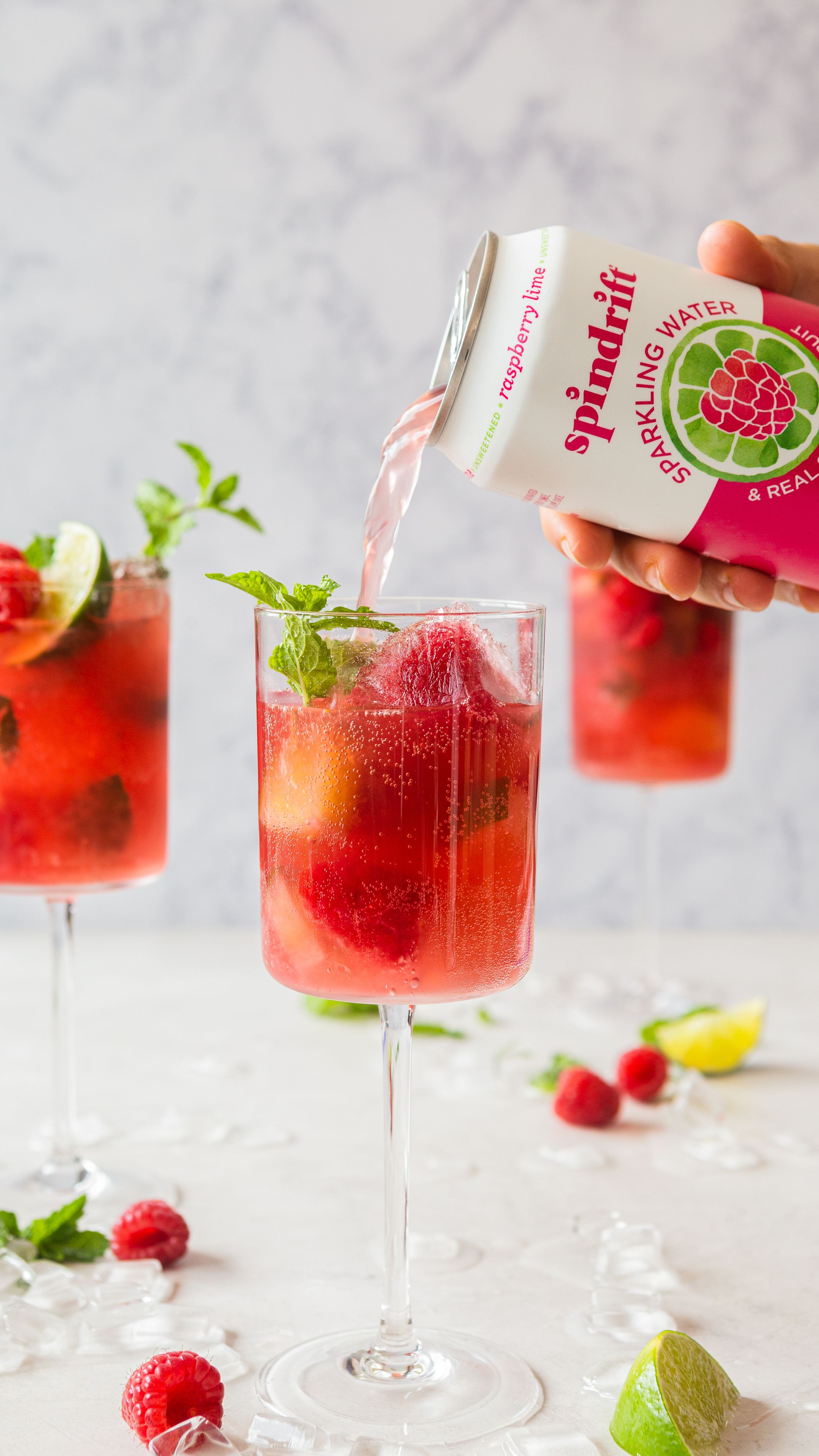Frosé Ice Cubes with Berries and Mint