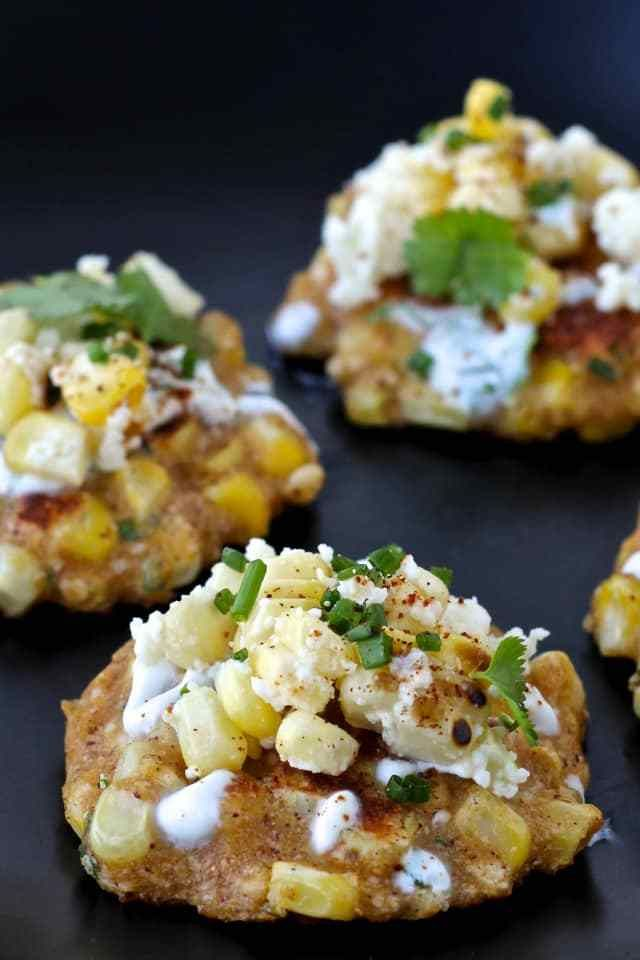 Mexican Street Corn Fritters with Cilantro Lime Yogurt