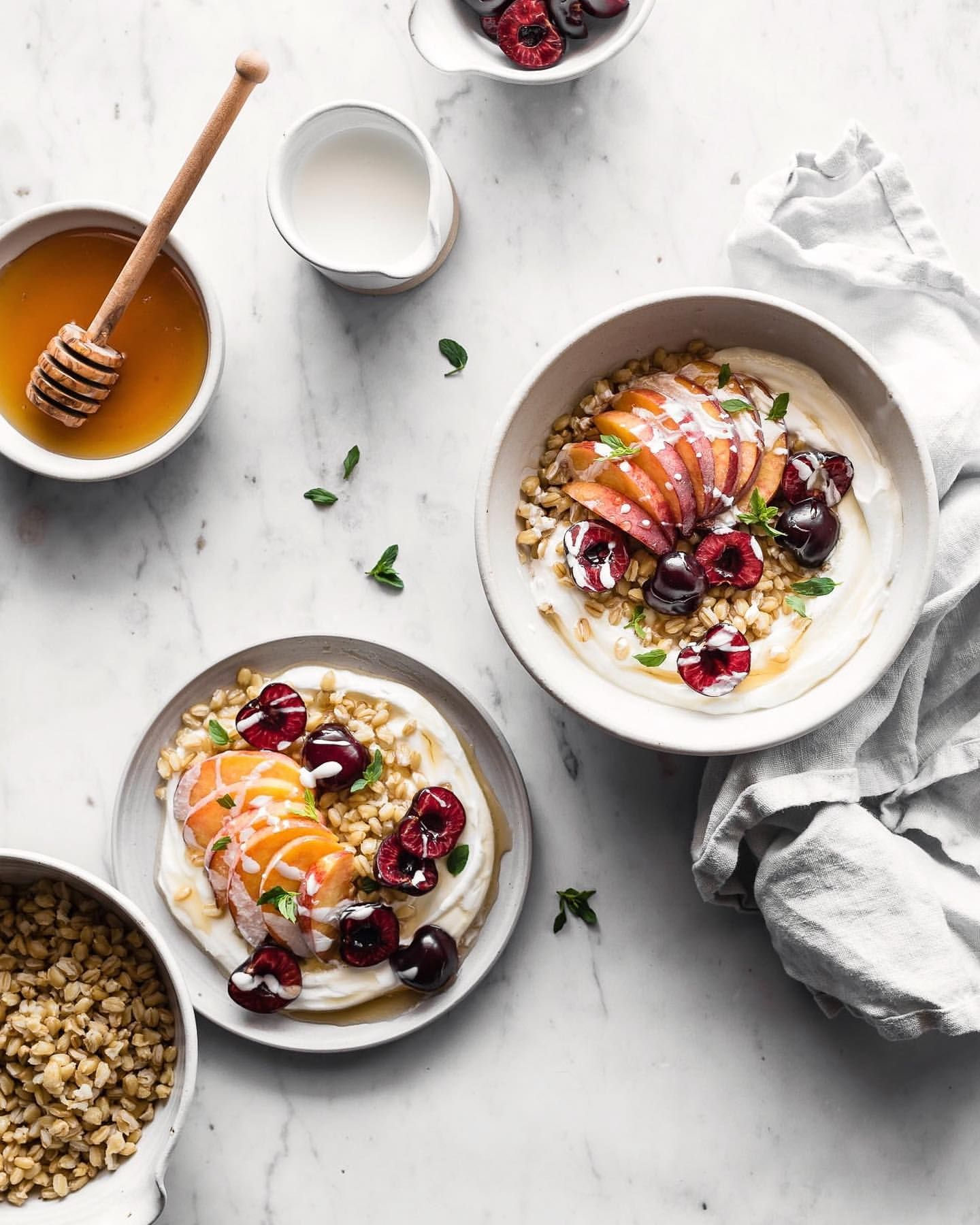 Yogurt Bowls with Fruit and Grains