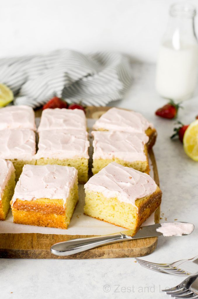 Lemon Snack Cake with Strawberry Frosting