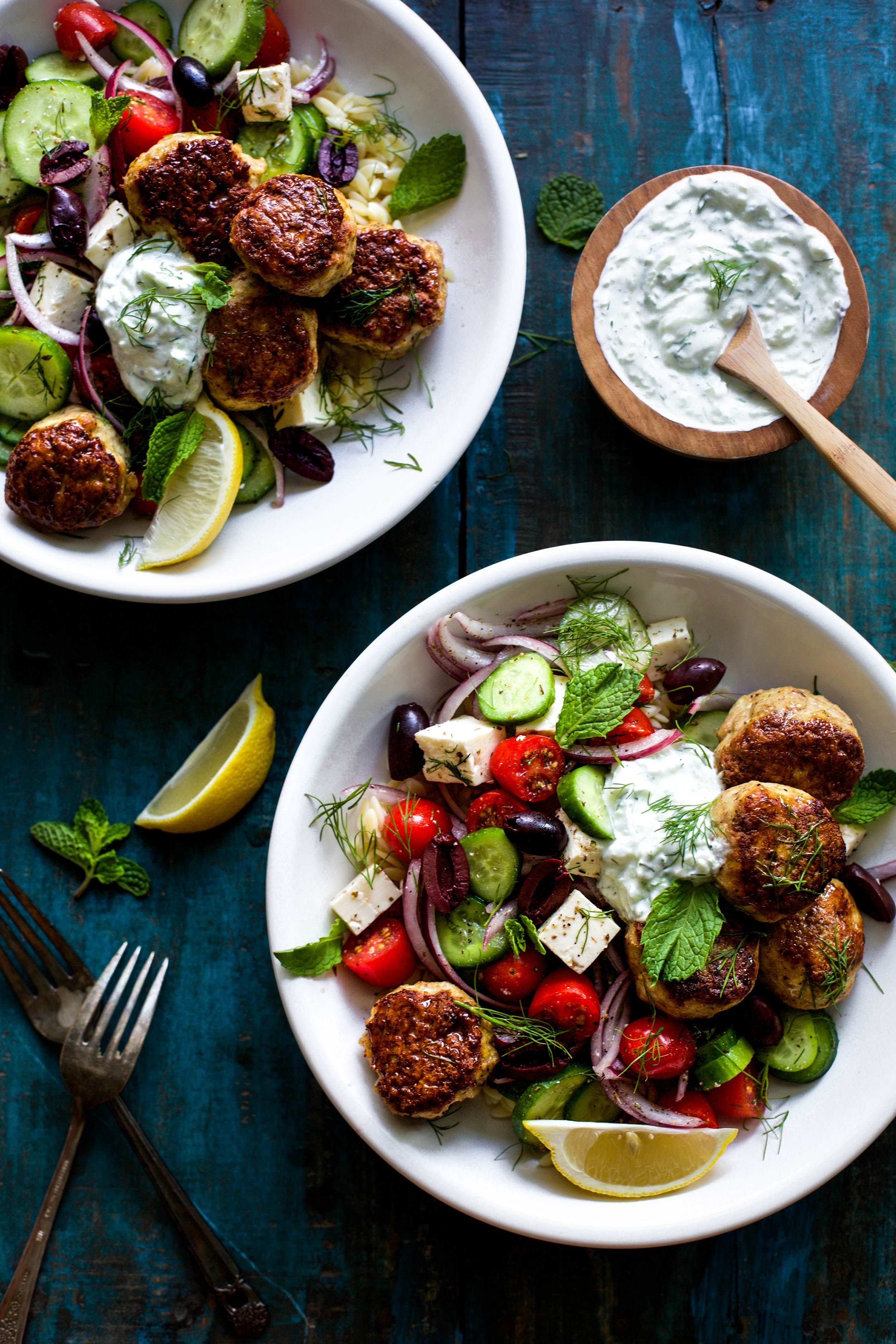 Chicken Shawarma Style Bowls with Tzatziki Sauce