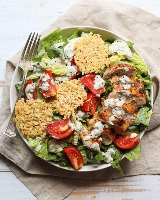 Chicken Caesar Salad with Pecorino Romano Crisps