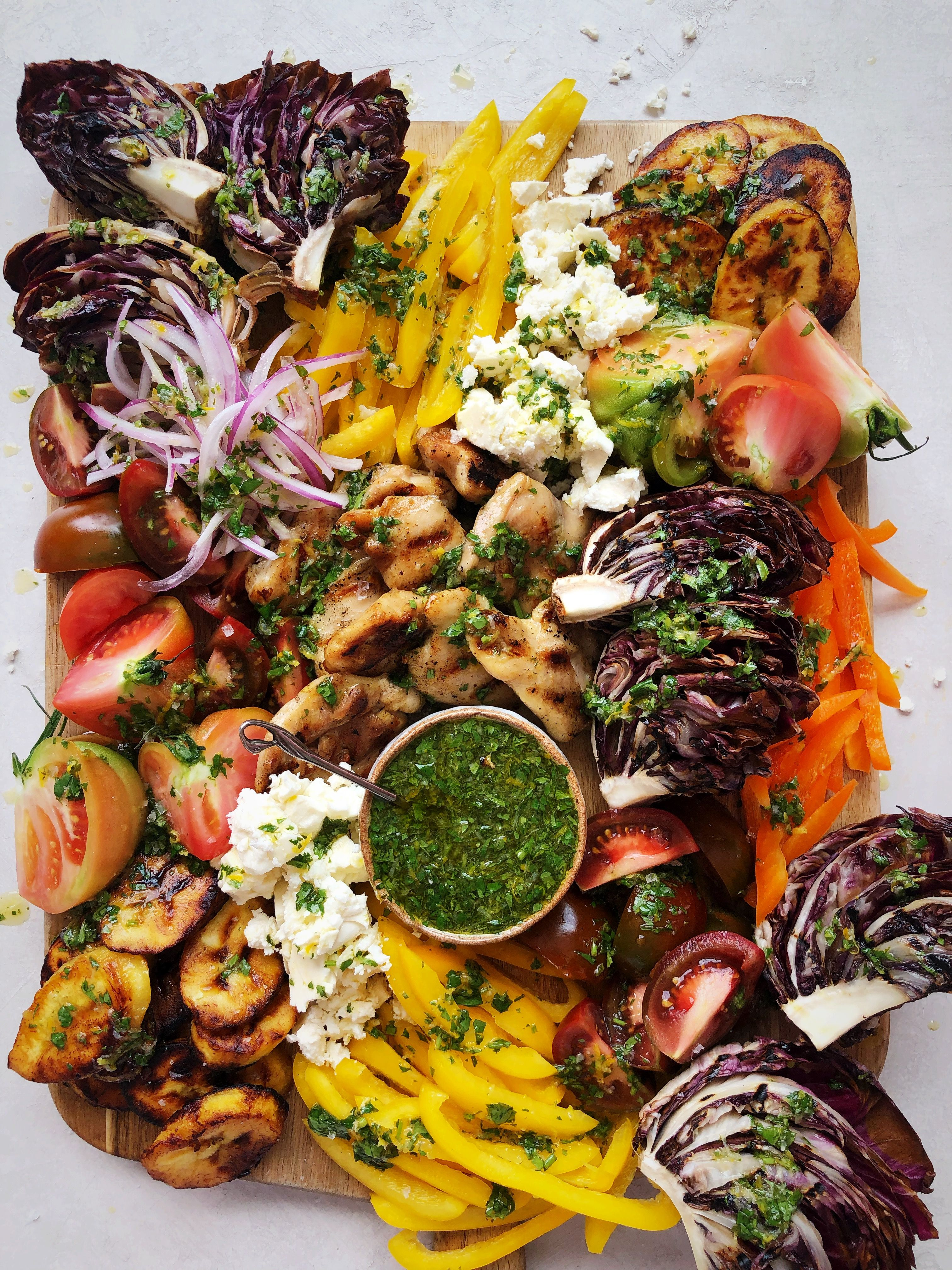 Jeweled Salad Party Platter with Radicchio, Bell Peppers, Feta and Chicken