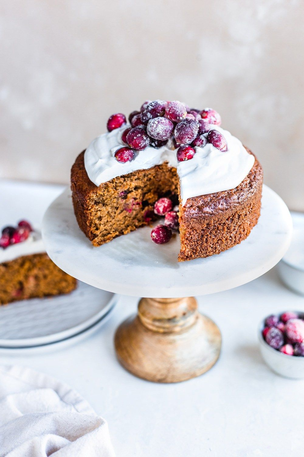 Orange and Almond Cake with Cranberries