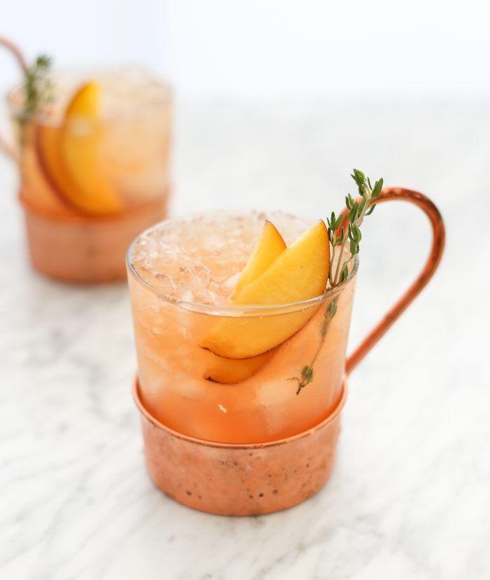 Peach Thyme Whiskey Smash