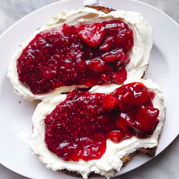 Whipped Ricotta Toast with Strawberry Raspberry Jam