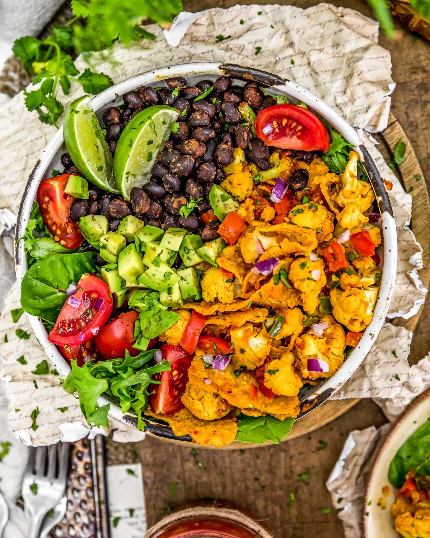 Spiced Cauliflower Salad Bowl with Avocado, Black Beans and Tomatoes