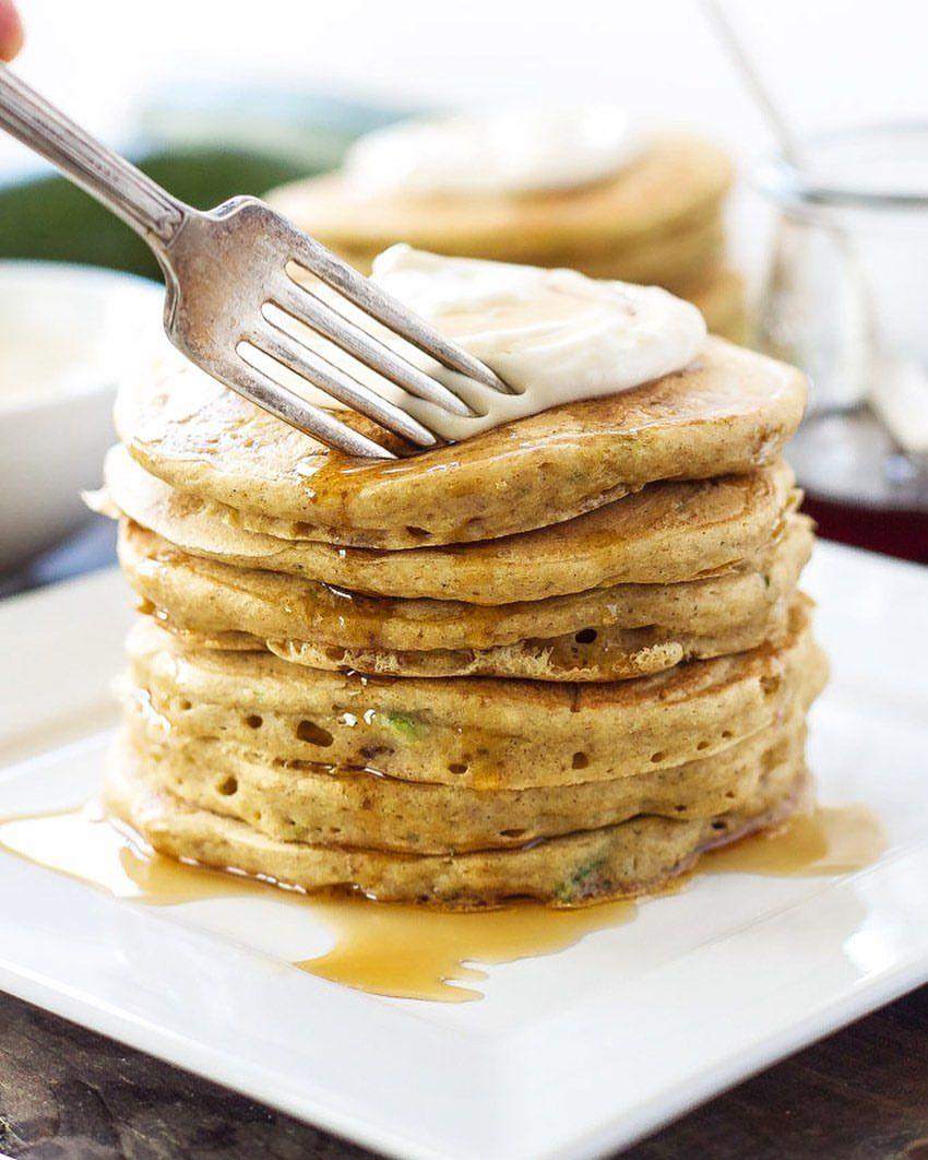 Zucchini Pancakes with Maple Cream Cheese